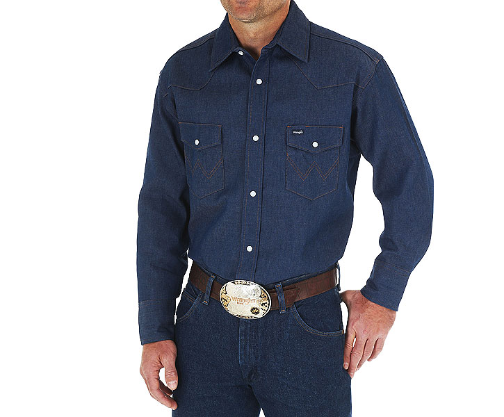 Wrangler Cowboy Cut Work Western Denim Long Sleeve Shirt 70127